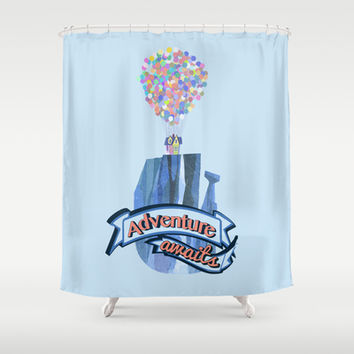 ellie and carl.. adventure awaits... up movie Shower Curtain by studiomarshallarts