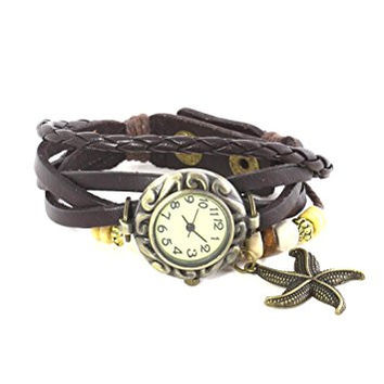 Watch Bracelet Beaded Starfish Charm Brown Leather Gold Tone WA12 Vintage Braided Snap Cuff Jewelry
