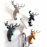 Retro Vintage Wall Mounted Deer Head Great Wall Hook 4 Hat Coat Bag Keys Jewelry