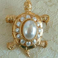 3-Dimensional Turtle Brooch Pin w Faux Pearls Animal Jewelry