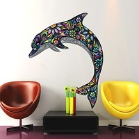 Abstract Dolphin Wall Decals Full Color Dolphin Colorful Floral Patterns Flowers Dolphin Wall Vinyl Decal Stickers Bedroom Nursery