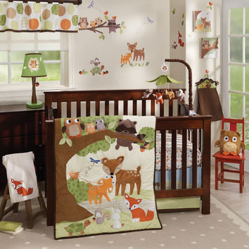 Lambs & Ivy Woodland Tales 6 Piece Baby Crib Bedding Set w/ Bumper & Mobile NEW-1 Each