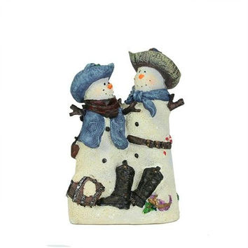 Christmas Figure - Cowboy And Cowgirl Snowmen