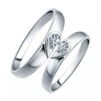18k White Gold Plated Heart Crystal Pave Couple Style Band Ring (Men's or Women's)