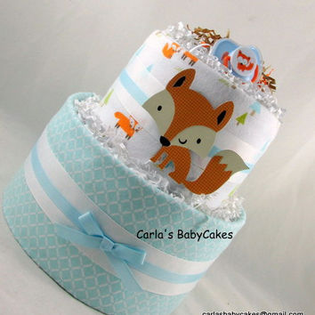 Fox Diaper Cake | Woodland Diaper Cake | Baby Diaper Cake | Baby Shower Decoration | Baby Shower Gift | Neutral Diaper Cake | New Mom Gift