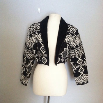 Western blanket jacket / cropped jacket / tapestry woven jacket