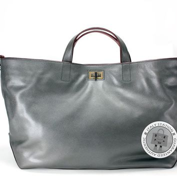 Auth Chanel New 2.55 Extra Large Shopping Tote Bag Silver Grey Calfskin Tote Bag