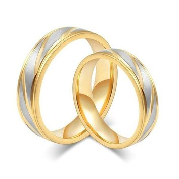 ONETOW New Fashion Wedding Bands Women Men Couples Ring Fashion Luxury Gold Plated Rings Stainless Steel Jewelry Loves Ring Engagement