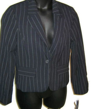 new JONES WEAR Womens Navy Pinstripe Jacket Size 8 $86
