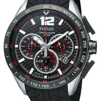 Pulsar Chronograph Mens Strap Watch - Black Dial w/ Red Accents - Steel Case