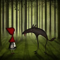 Little red riding hood meets the wolf in the forest by majalin