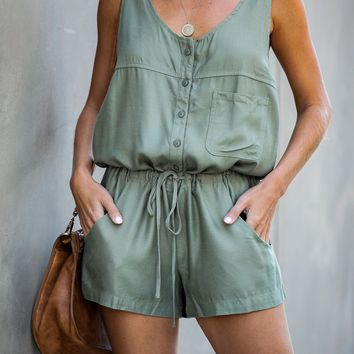Settle Down Pocketed Button Down Romper - Sage