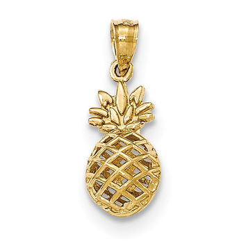 14k Polished 3D Pineapple Pendant K5419