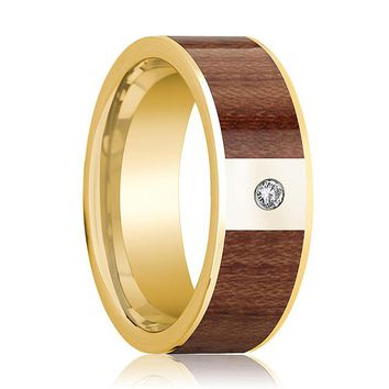 Mens Wedding Band Polished 14k Yellow Gold Men's Flat Wedding Ring with Rose Wood Inlay & Diamond - 8mm