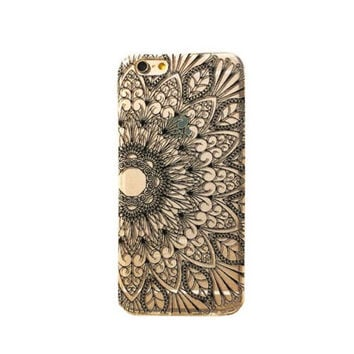 iPhone 6 Case Mandala Cover Tribal Pattern iPhone 6 Plus Case Geometric Mandala Back Cover For iPhone 6 Slim Design Case Black Henna 6129