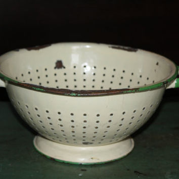 Vintage Pale Yellow Green Metal Enamel Colander Strainer Enamelware Bowl Antique