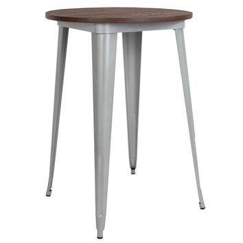 """30"""" Round Silver Metal Indoor Bar Height Table with Walnut Rustic Wood Top [CH-51090-40M1-SIL-GG]"""