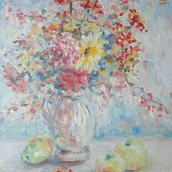Original Oil Painting Custom Landscape Bouquet August Impasto Contemporary Fine Art Still Life Red Flowers Vase Wall Decor Nature Hardboard