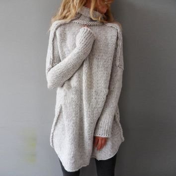Women Knitted Sweater Casual Loose Pullovers Vintage Turtleneck Long Sleeve Solid Rib