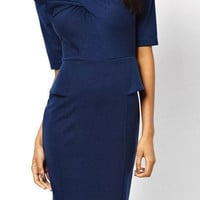 Ladylike Scoop Neck 1/2 Sleeve Solid Color Bodycon Low Cut Dress