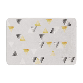 "Nick Atkinson ""Triangle Love"" Gray Gold Memory Foam Bath Mat"