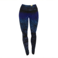 "Sylvia Coomes ""Blue Moon "" Blue Celestial Yoga Leggings"