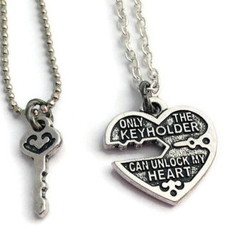 His & Hers Necklace Set, Heart and Key, Love Token, Engagement Present, Couples Christmas Gift, Gift For Girlfriend, Relationship Necklaces