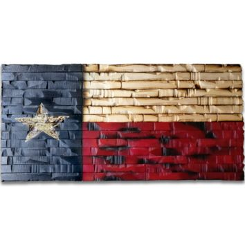 Texas State Flag Rustic Wood Decor 41x21