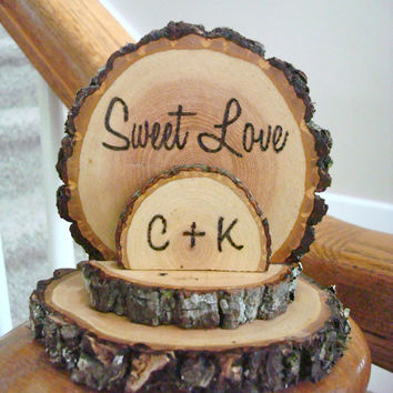 Rustic Wood Wedding Cake Topper Sweet Love Personalized Wedding Decor