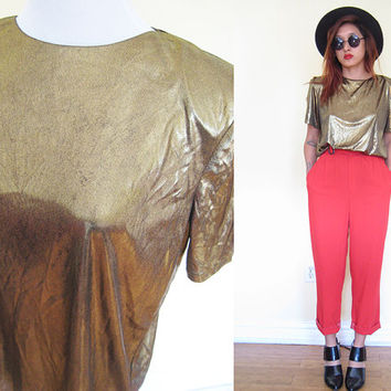 Vintage 80's soft liquid gold lame dynasty disco blouse party cocktail