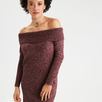 AE Ahh-Mazingly Soft Off-the-Shoulder Sweater Dress, Burgundy