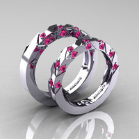 Modern Italian 14K White Gold Pink Sapphire Wedding Band Set R310BS-14KWGPS