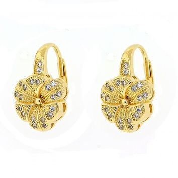 Gold Layered 02.195.0054 Leverback Earring, Flower Design, with White Micro Pave, Polished Finish, Golden Tone