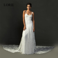 Bohemian Style Beach Wedding Dresses 2017 LORIE Vestido De Noiva Full Sexy Spaghetti Straps Vintage Lace Bridal Dress