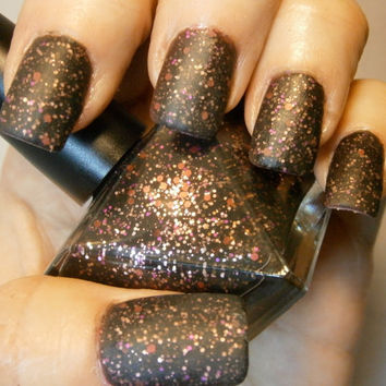 Dirty Girly Nail Polish - Matte Black & Pink Grunge Glam - Tomboy - Full Size 15 ml Bottle