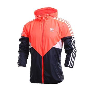 Adidas Multicolor Stripe Print Long Sleeve Sportswear Zip Cardigan Hooded Windbreaker Coat-1