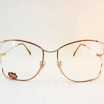 Funky Vintage Glasses, Rimless Eyeglasses, Gold Metal Glasses, Copper Eyeglasses, Womens Big Eyeglasses, 1980s Vintage Frame, NOS Eyeglasses
