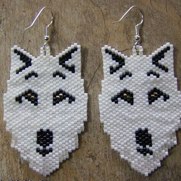 White Wolf Earrings Hand Made Seed Beaded Native Inspired