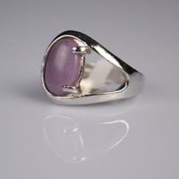 Fashion Jewelry Natural Stone Ring Amethyst Gem Ring Fashion Ring for Party Silver Gemstone Ring