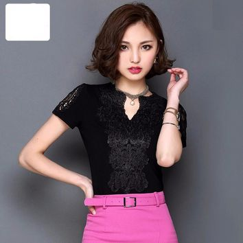 Summer Style Blusa White Lace Cotton Blouse Elegant Women Tops Fashion 2015 S-3XL Plus Size Sexy Hollow Out Shirts Woman Clothes