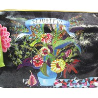"Zen Flower Arrangement "" Beautiful"" Graphic Art Design Oil Cloth Large Make-up or Accessory Travel Bag"