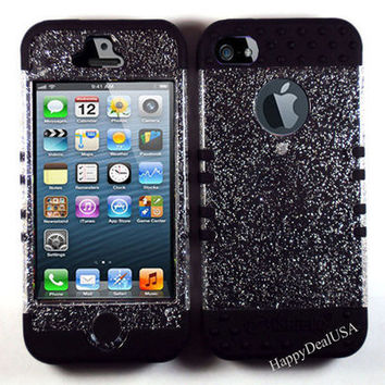 Hybrid Rocker Silicone Rubber+Cover Case for APPLE iPhone 5 BK/Glitter Clear