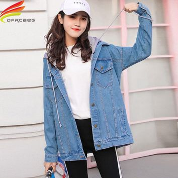 Trendy Street Wear Denim Jacket Women Autumn Winter 2018 New Hooded harajuku Jeans Jacket Oversize Loose Womens Jackets And Coats AT_94_13