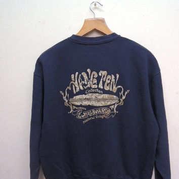 15% SALES Vintage 90's Hawaii Hang Ten Sweatshirt Surfing Surf Pull Over Crewneck Sweater Size L