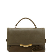 Helene Small Calfskin Top-Handle Bag, Militaire - Time's Arrow