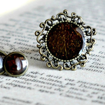 Set of Victorian Filigree Ring And Stud Earrings, Black Tiny Post Stud Earrings Black Glitter Ring Resin Jewelry