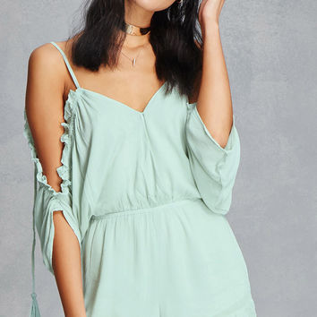 Open-Shoulder Surplice Romper