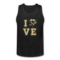 KTIY Men's I LOVE Pittsburgh City Hockey Penguins Tank Top Black Size M