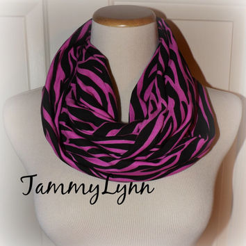 Pink and Black Zebra Print Cotton Stretch Jersey Knit Infinity Scarf Women's Accessories