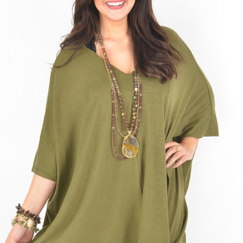Olive Poncho Style Top with V-Neckline and Asymmetrical Hem